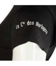 """T-shirt La Cie des Horlogers, Collection PLATINE, noir. Écriture """"La Cie des Horlogers"""" sur la manche."""