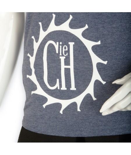 """T-shirt La Cie des Horlogers, Collection PLATINE, bleu gris. Sigle """"La Cie des Horlogers"""" sur l'avant."""