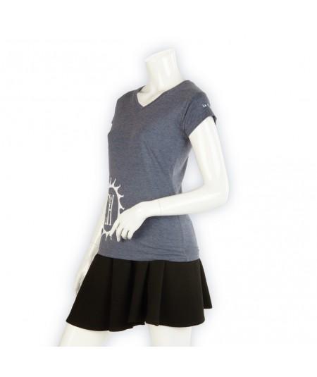 T-shirt La Cie des Horlogers, Collection PLATINE, bleu gris. Vue de 3/4.