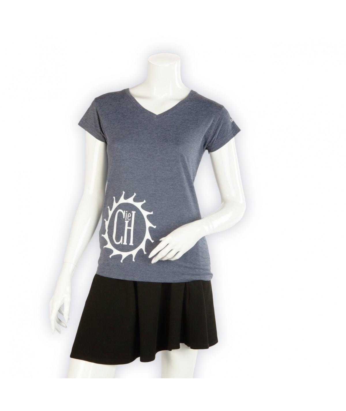 T-shirt La Cie des Horlogers, Collection PLATINE, bleu gris. Vue de face.
