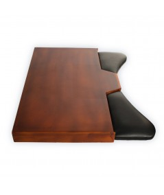 Plateau d'établi pour horlogers acajou et cuir brun et noir